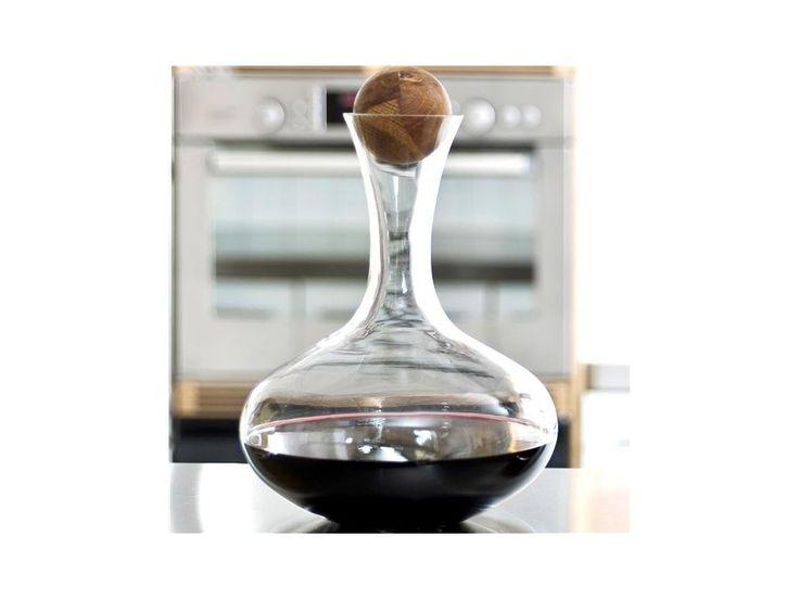 Karafa na vino s dřevěnou kuličkou SAGAFORM Oval Oak 2L. Karafa na červené víno - ruční výroba - uzávěr dřevěná kulička - obsah 2L