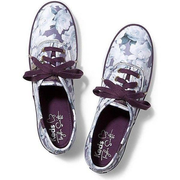 Keds Taylor Swift's Champion Floral Print ($40) ❤ liked on Polyvore featuring shoes, sneakers, purple, floral pattern shoes, keds sneakers, flexible shoes, floral sneakers and flower print shoes