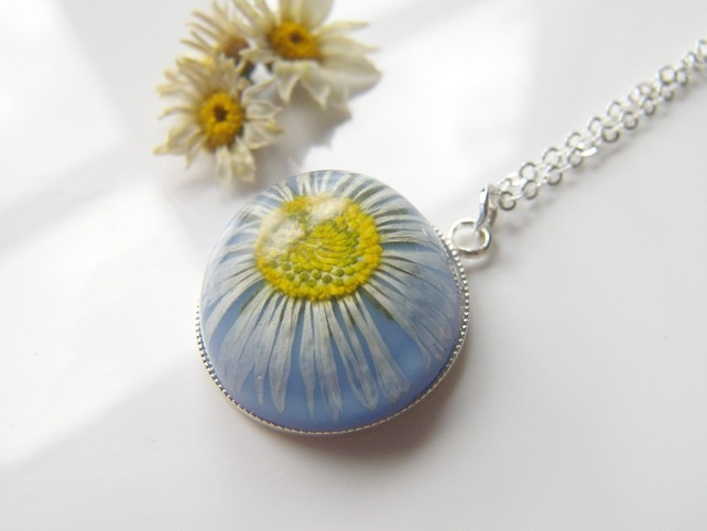 Real Daisy Blue Necklace High Domed Resin - Nature Specimen - DAISY £16.50