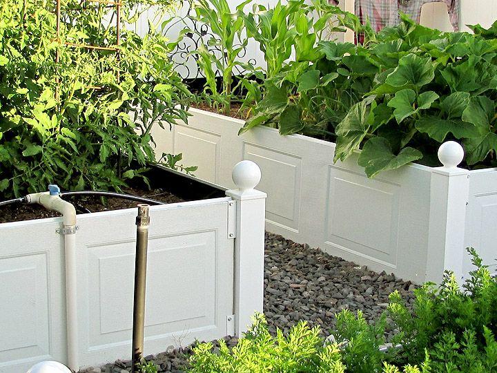 Raised garden beds using garage door panels/shudders and vinyl fence posts.