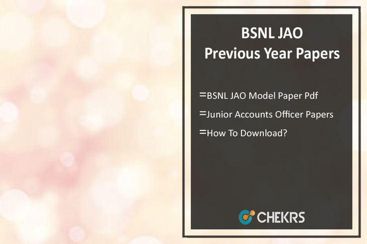 BSNL JAO Previous Year Question Paper Sample/ Model Papers Pdf