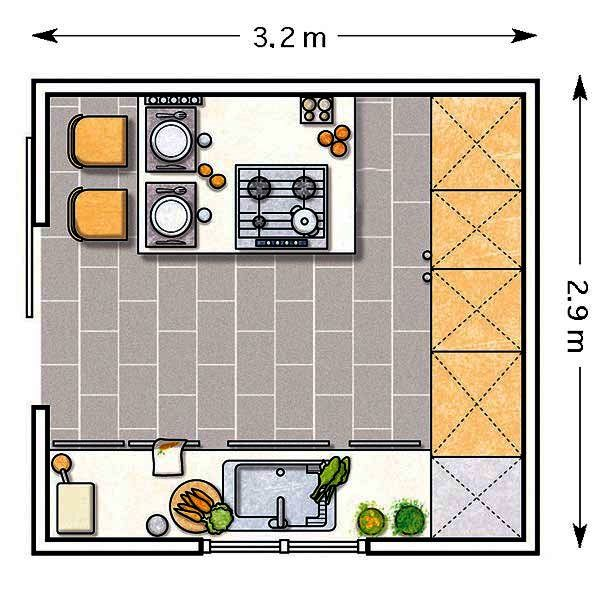 9 m²: En una cocina cuadrada, una distribución en U rentabiliza el espacio.