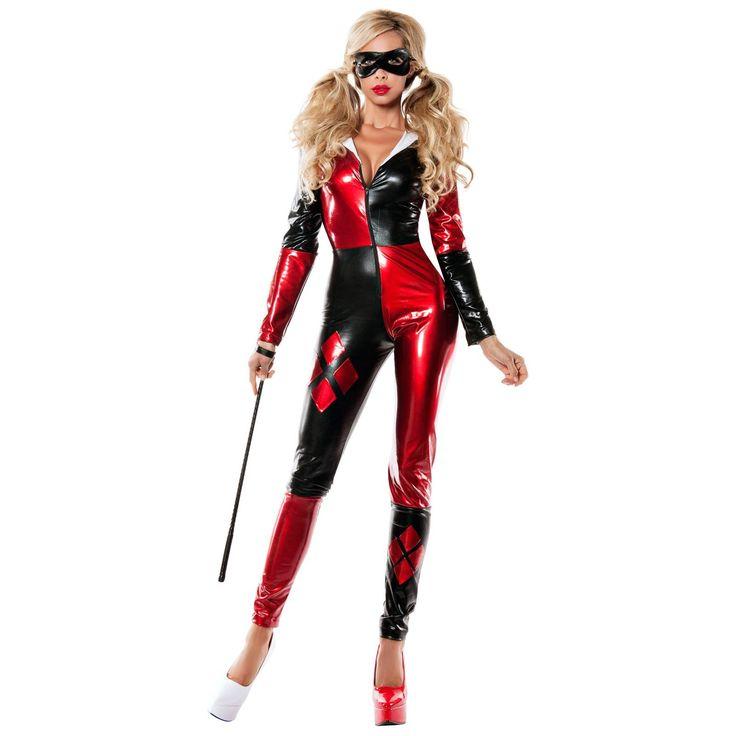 Womens Red & Black Harlequin Bodysuit Costume $64.99