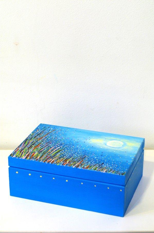Big Blue Box Hand Painted Something Blue Tea Box Elegant Gift Idea For Her Home Decor Cozy Wooden Storage Jew Cigar Box Art Hand Painted Wooden Box Tea Box