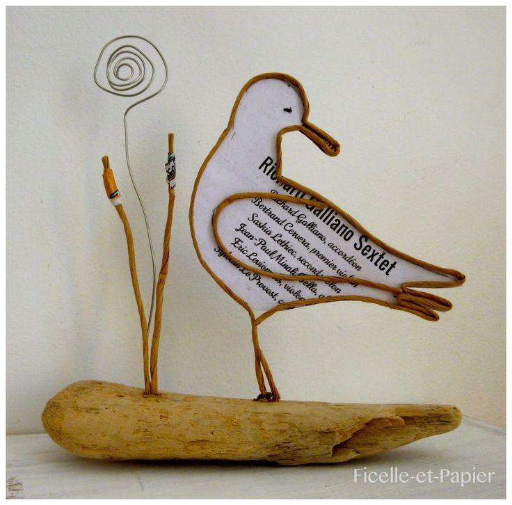 Jolie mouette - figurine en ficelle et papier