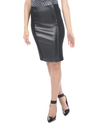 Enhance your look with this flattering and sophisticated Detailed Midi Pull On Skirt. Black incolour, the design displays a dual fabric combination of soft, slightly stretchfabric and a leather-like material. It features a modest knee-length hemline,fitted shape and a comfortable waistband. Easily styled and versatile, ithighlights your curves while showing off your silhouette. Pair it with a sexy,animal print top and strappy heels for a look that will turn heads.