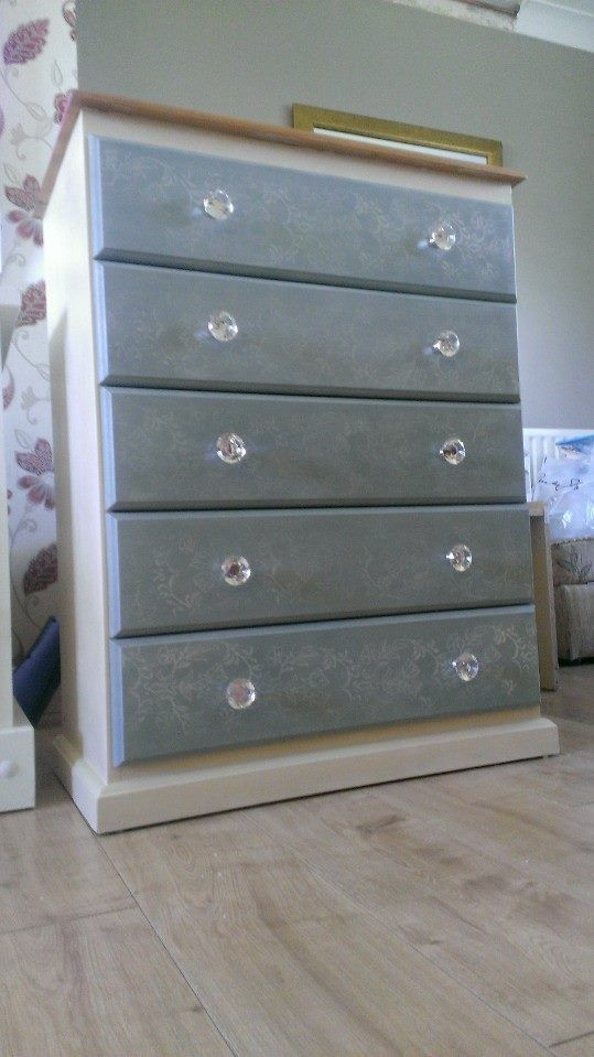 Pine chest. Handpainted in Annie Sloane Cream and duck egg blue with a stencil of flowers.