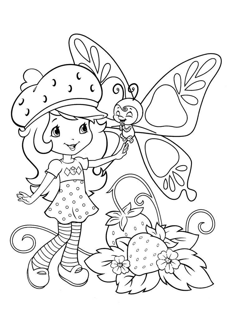 Strawberry shortcake coloring pages with butterfly printable free