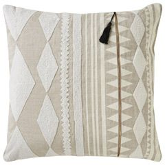 A fresh addition to Jaipur's Cosmic by Nikki Chu collection, this throw pillow impresses with a mixed media take on decor. A blend of fabrics, textures, and tones defines the look, setting innovative on display. Textural appliques in geometric shapes and stripes layer over the soft background, while a tasseled zipper serves as the final element of eclectic surprise. Available in Oatmeal & Gargoyle and Almond Buff & Bone White; 100% linen; Colors noted are Pantone TPX; Down insert included…
