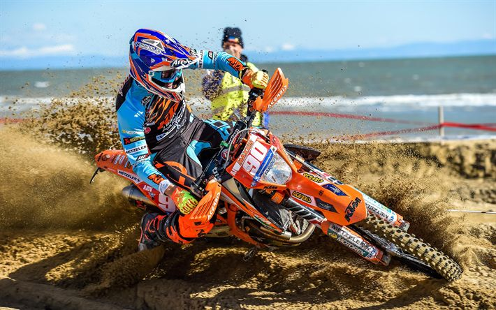 Download wallpapers Rudy Moroni, 4k, 2018 cars, motocross, KTM 250 EXC-F, extreme, sportsbikes, KTM