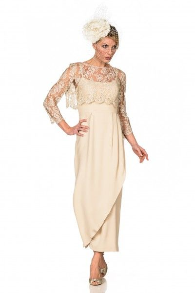 Simple elegant Mother of the Bride Dress with Lace Top by Joyce Young  www.joyceyoungcollections.co.uk