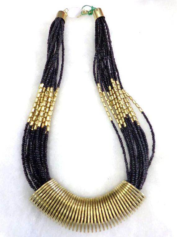 Statement Necklace/ black Necklace/Multi Strand Necklace/Chunky Necklace/Beaded Necklace/Bib Necklace/Beaded Jewelry , gypsy style handmade