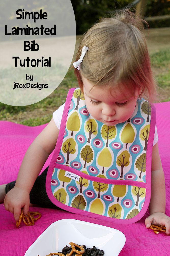 This is the best bib pattern! Love how she used laminated fabric for easy clean up. She provides pattern for both Toddler and Infant sizes.