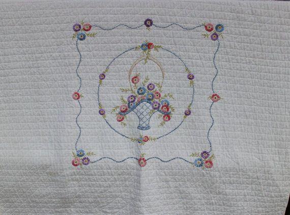 Vintage linens embroidered blanket pastel quilt floral hand