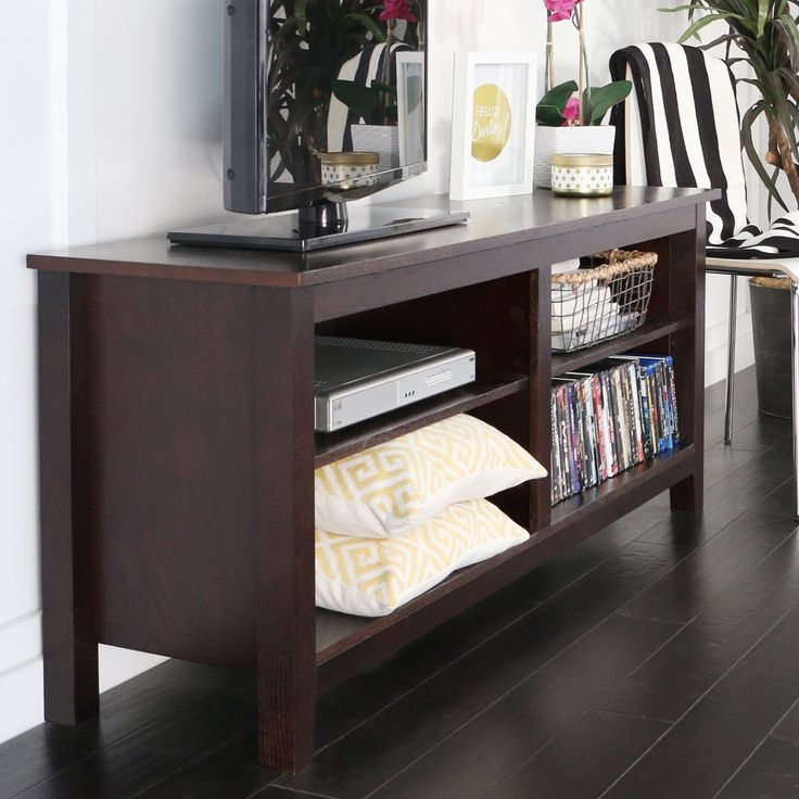 Permium Home Stand - Stylish Adjustable Shelves Organizer Features Entertainment Living Room Home Furniture (Espresso). It will stylishly keep your home entertainment system organized. It features 4 adjustable shelves. Overall: 24'' H x 58'' W x 16'' D. Overall Product Weight: 70lb.