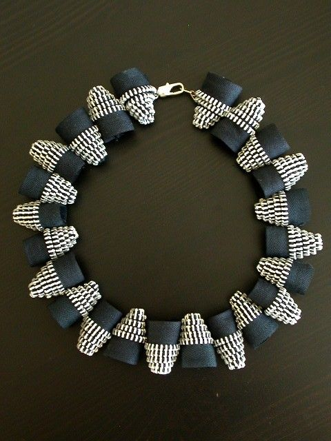 "Necklace | Flora Quereshi (Reborne Jewelry) ""Silver Bullets Black Zipper""  