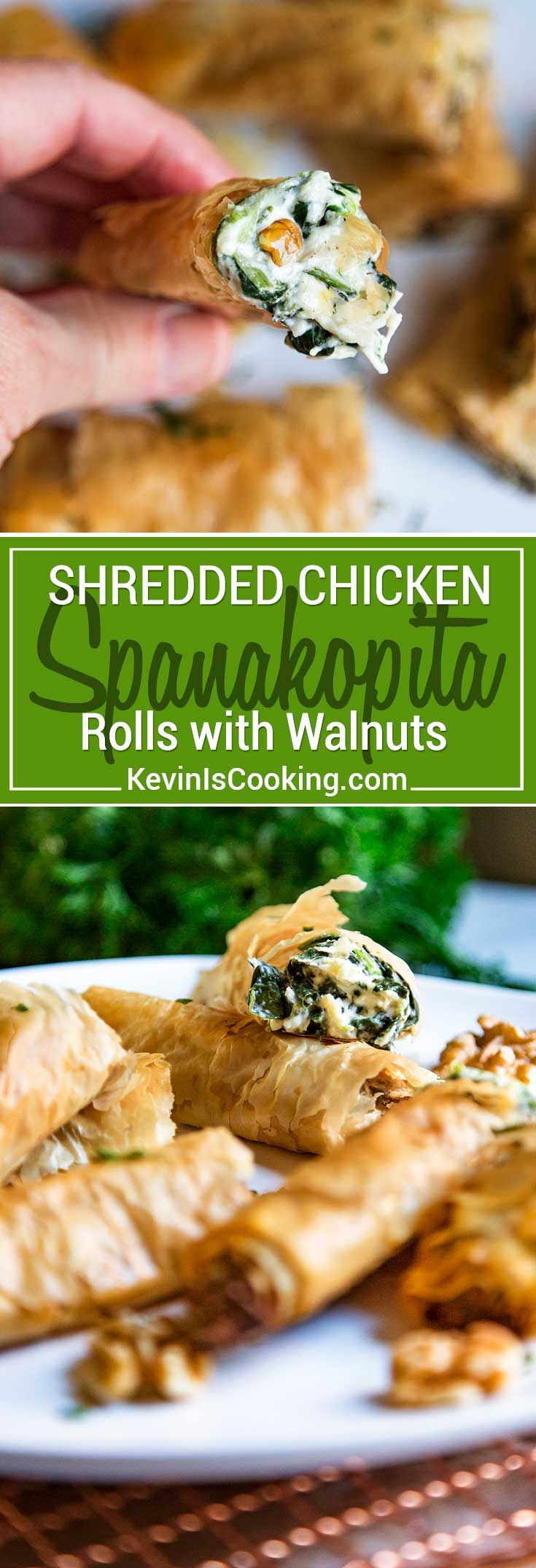 Chicken, walnuts and a cheesy spinach filling all wrapped in layers of flaky fillo dough pastry make these Chicken Spanakopita Rolls with Walnuts so irresistible! via @keviniscooking