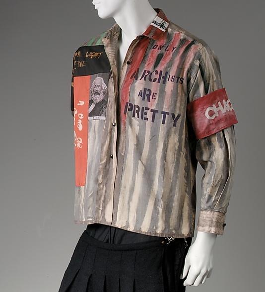"cotton | 30"" long | labels: ""Malcolm McLaren/Vivienne Westwood/Seditionaries/Exclusive Collection"" + ""SEX original/430 Kings Road, Chelsea/01-351 0764"" | London, England | 1976"