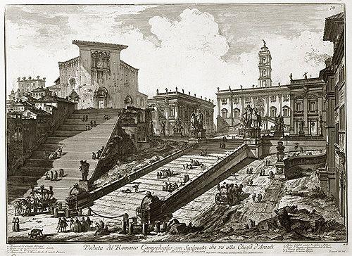 Templo de Santa María de Aracoeli y su gran escalinata. A la derecha se ven las antiguas viviendas romanas demolidas hacia 1882. A la izq...