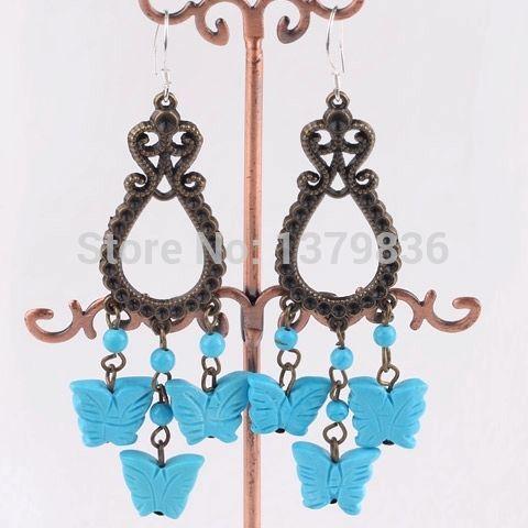 Найти ещё Висячие серьги Сведения о Элегантный дизайн винтаж стиль и форме бабочки голубая бирюза мотаться, высокое качество серьги Кейт, Китай серьги кисточкой поставщиков, Бюджетный старинные стандарт из Lucky Fox Jewelry на Aliexpress.com