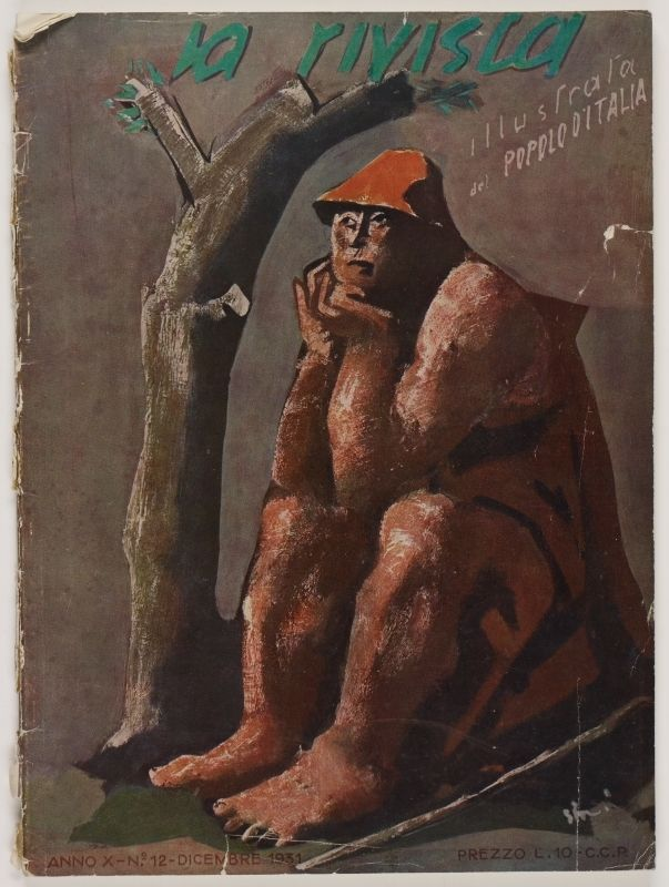 La Rivista, anno X, n. 12 (Dicembre, 1931), front cover: [Illustration of a shepherd sitting beside a leafless tree, unsigned]