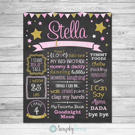 First Birthday Chalkboard Printable,  Twinkle Twinkle Little Star Birthday, First Birthday Chalkboard Sign