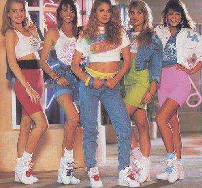 In the 80s everyone rocked the high tops, scrunchy socks, spandex and cut off shirts.