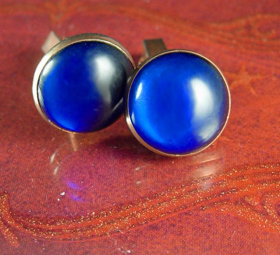 Haunted BLUE Cuff links Swank designer Cufflinks Vintage Gold mens jewellery A perfect addition to a collection or for a gift for that special