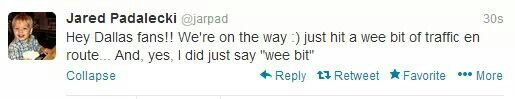 Jared's Tweet about #DallasCon2012