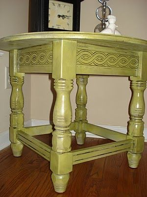 Before Meets After: Avocado Table Revealed! How To Paint A Piece Of  Furniture, Then Add Glaze To Make The Nooks Stand Out.