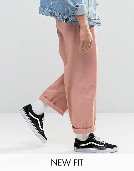 ASOS   ASOS Wide Leg Chinos In Light Pink