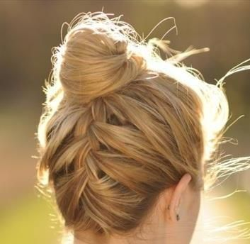 Easy way to keep up all the fly-a-ways braid-with-top-knot-bun