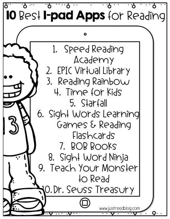 Free printable list of the 10 Best Reading Apps for Ipads