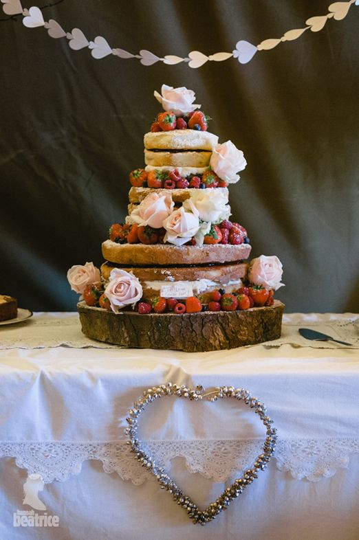 Naked Victoria Sponge wedding cake with berries and roses – photography http://www.photography.hannahbeatrice.co.uk/