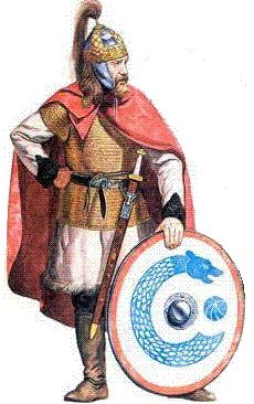 Member of Theodoric the Amal's personal bodyguard. Troops who helped the Ostrogothic King to usurp Italy from Flavius Odoacer's forces (admittedly by treachery, after a military stalemate). Sent by the Emperor Zeno to 'reclaim' Italia for the Empire, Theodoric ruled the province as a Roman consul.