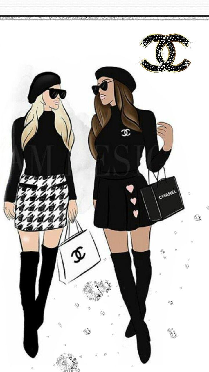 Chanel En 2019 Dibujos De Chicas Ilustraciones De Moda Y