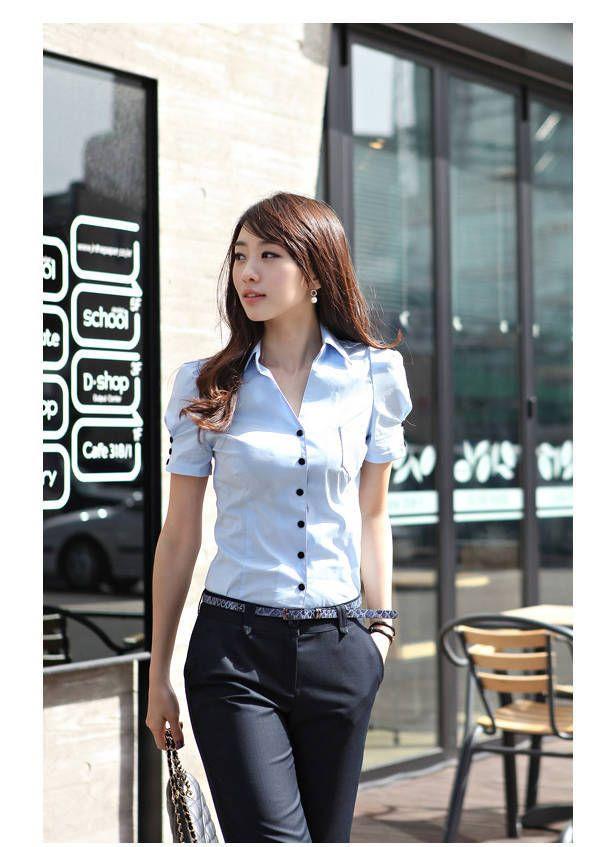 moda feminina com decote em V de mangas curtas vestido blusa senhora do escritório de algodão branco frete grátis & azul & rosa 8.90