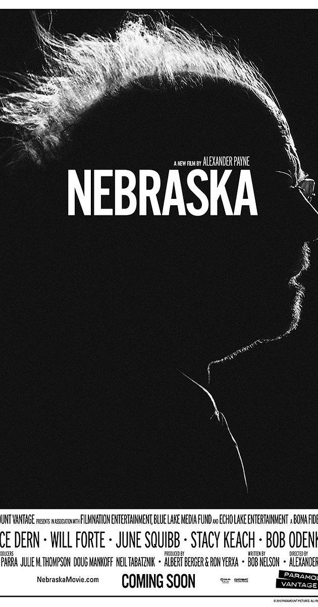 Directed by Alexander Payne.  With Bruce Dern, Will Forte, June Squibb, Bob Odenkirk. An aging, booze-addled father makes the trip from Montana to Nebraska with his estranged son in order to claim a million-dollar Mega Sweepstakes Marketing prize.