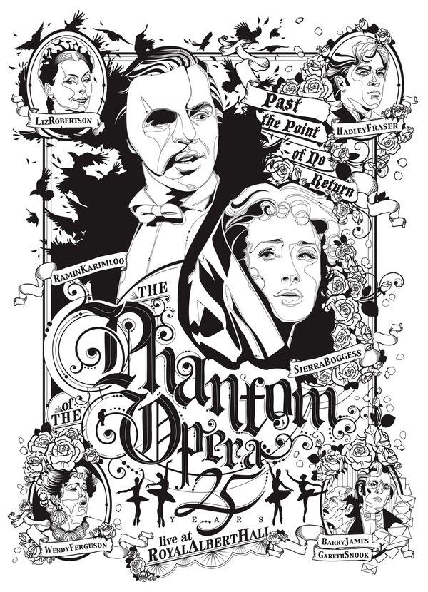 Black & White poster .The Phantom of the Opera by Federica Bonfanti, via Behance