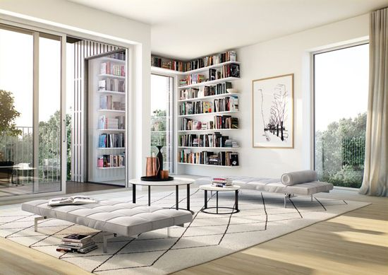 Serene scandinavian apartment on sale at Alexander White  i like the white and the book shelves