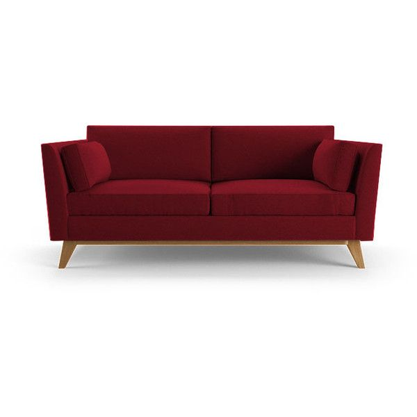 Roller Mid Century Modern Red Loveseat ($1,499) ❤ liked on Polyvore featuring home, furniture, sofas, red, red loveseat, midcentury modern sofa, red couch, midcentury furniture and mid century couch