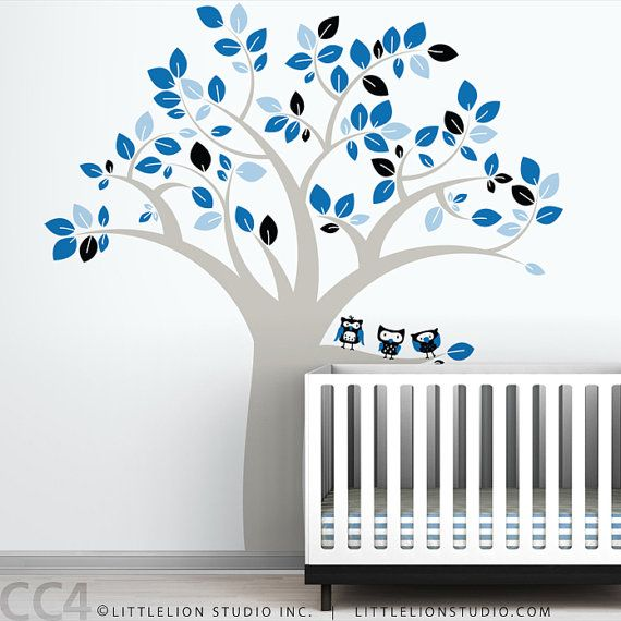 Owl tree extra large wall decal fun large owl tree for Extra mural courses