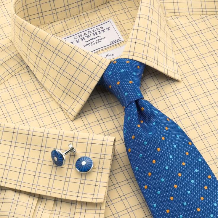 Yellow check non-iron classic fit dress shirt   Classic fit dress shirts from Charles Tyrwhitt   CTShirts.com