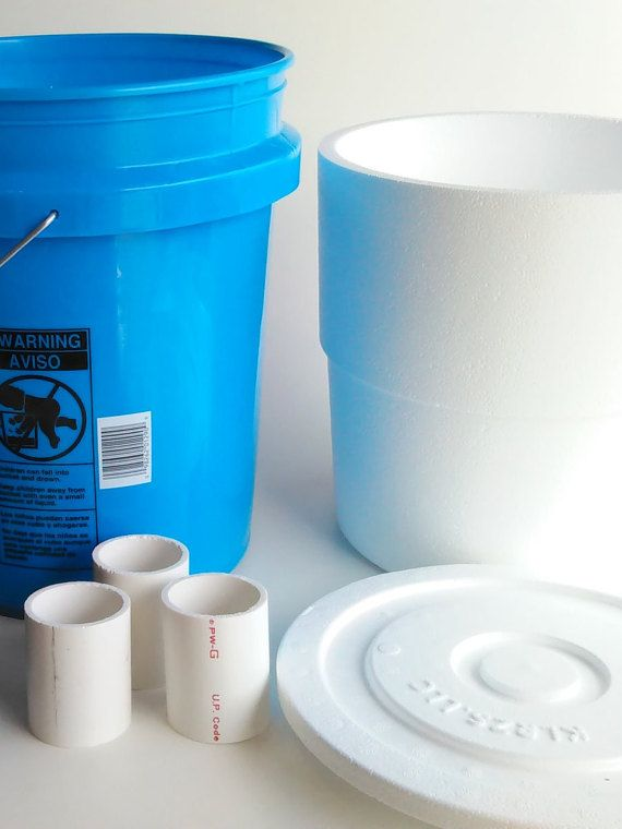 DIY 5 Gallon Bucket Air Conditioner Kit.  Bucket, 5 gallon bucket foam liner, 3 3inch x 2inch PVC pipes, and lids