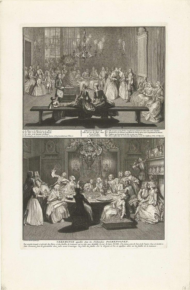 Bernard Picart | Verloving en Palmknopen, ca. 1730, Bernard Picart, 1732 | Twee voorstellingen over huwelijksgebruiken bij de hervormden in Amsterdam, ca. 1730. In de bovenste voorstelling neemt het verloofde paar felicitaties en geschenken in ontvangst. In de onderste voorstelling het palmknopen, het knopen van bloemen- en bladerkransen door het verloofde paar en vrienden. Met onderschriften in het Frans.