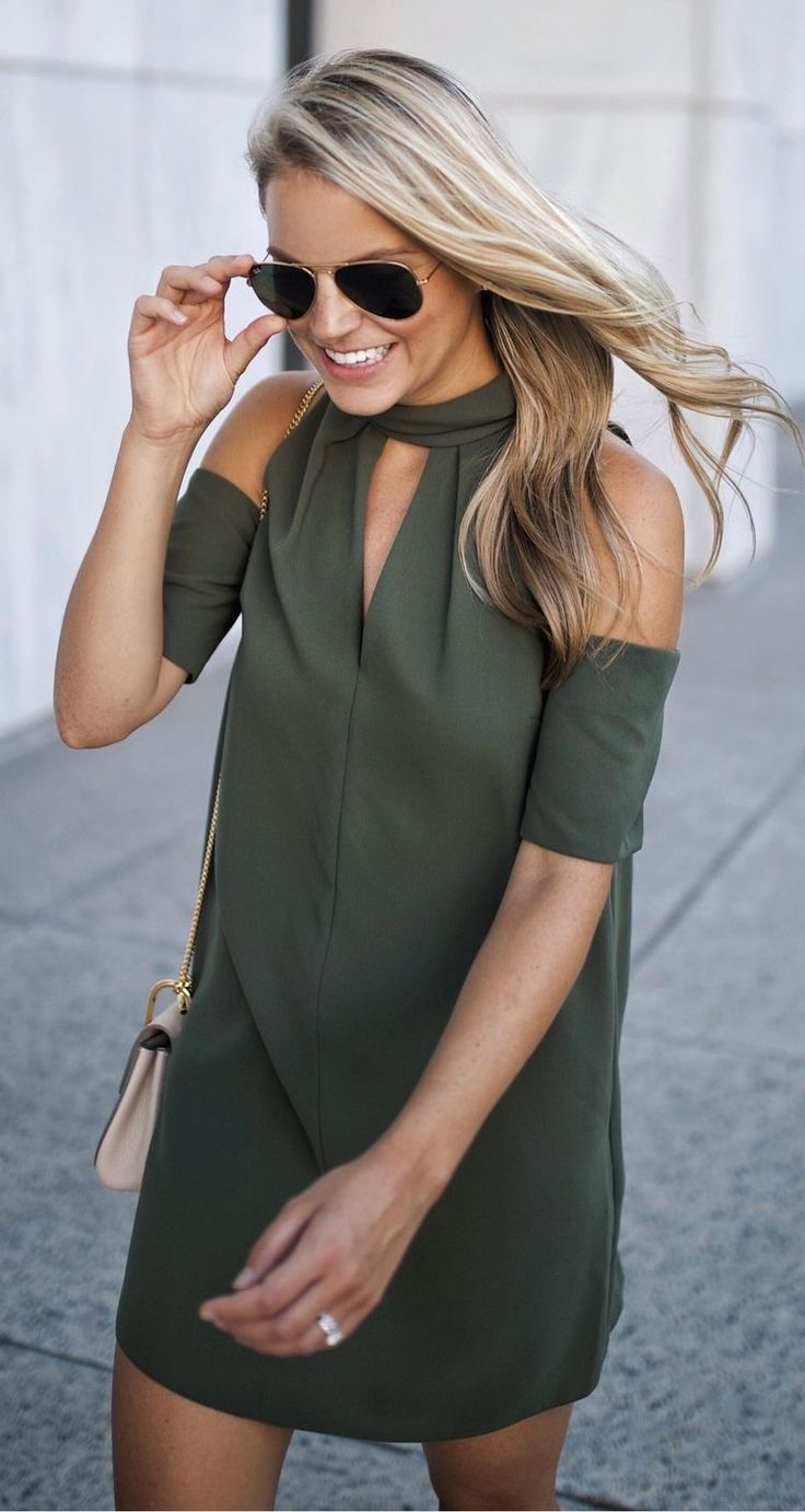 Olive green cold shoulder dress.