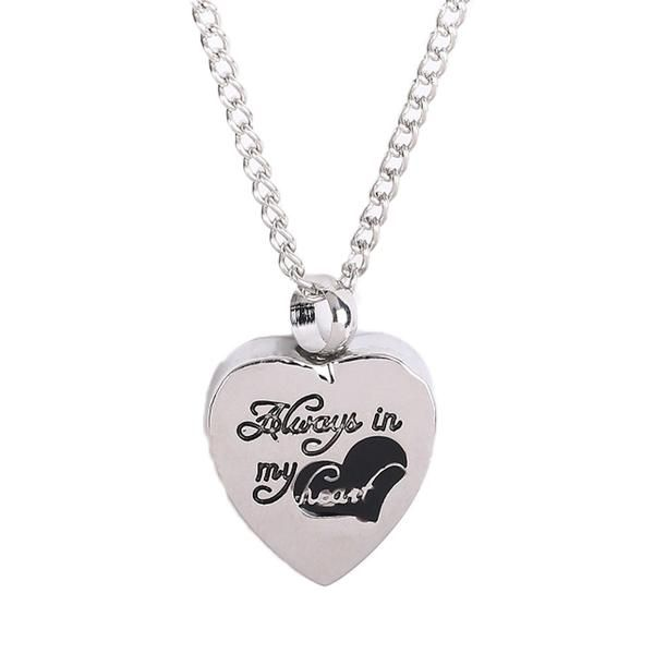 Silver Plated Always In My Heart Necklace Keepsake Urn For Pets Ashes – poshstartrends