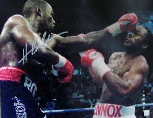 Hasim rahman signed 16x20 photo - punching lennox lewis