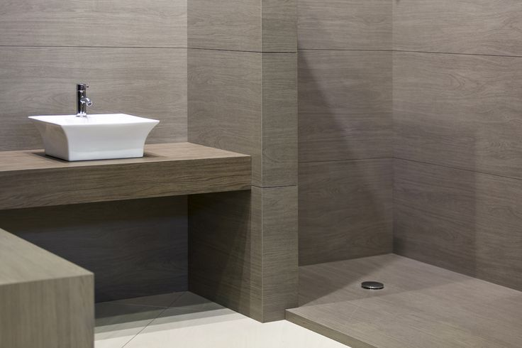 Bathroom done in Timber Oak Neolith