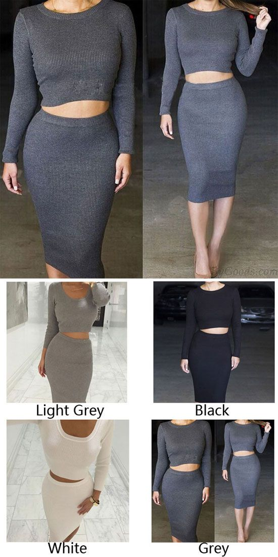c7e56f9f54ba Women's Knit Midi Skirt Outfit Two Pieces Bodycon Tight Dress for big sale  ! #dress #women